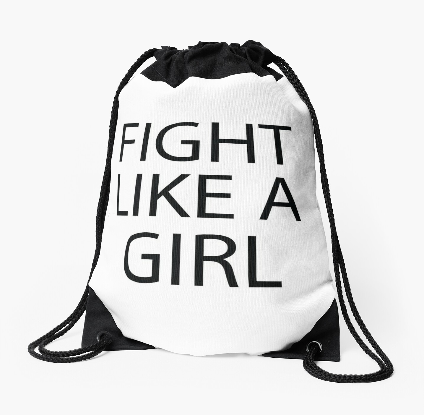 Cute Funny Quotes Fight Like A Girl Drawstring Bags By In3pired