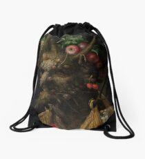 Four Seasons in One Head by Giuseppe Arcimboldo Drawstring Bag