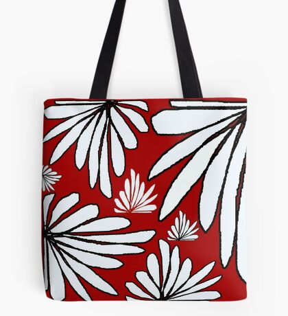 Red wine and white fern floral abstract print Tote Bag