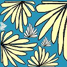 Tiffany blue yellow fern floral abstract print by HEVIFineart