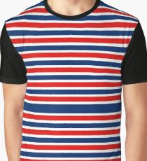 Red White and Blue Striped  Graphic T-Shirt