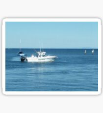 A large boat on its way out to sea for some fishing- Werribee Sth. Sticker