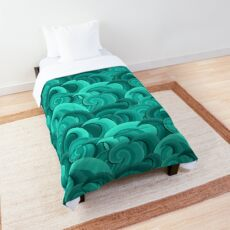 Dreaming of Waves Pattern - Teal Comforter