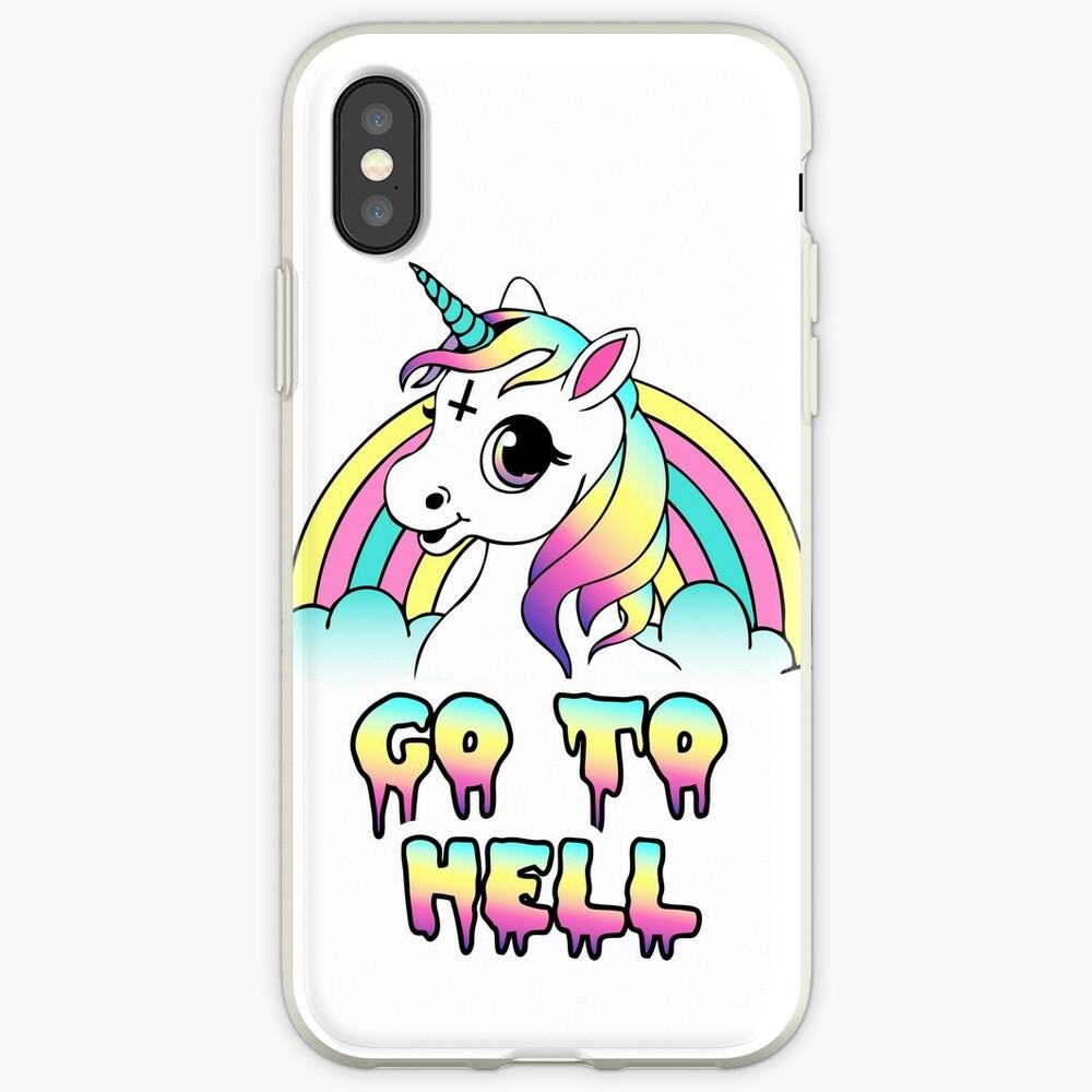 """Go To Hell"" Pastel Goth Unicornio Funda y vinilo para iPhone"