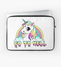 """Go To Hell"" Pastel Goth Unicorn  Laptop Sleeve"