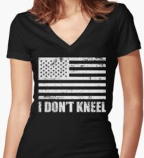 I Don't Kneel - I Stand For The Flag Women's Fitted V-Neck T-Shirt