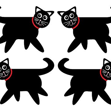 4 Black Cats in Red Collars by jgevans