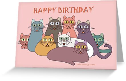 HAPPY BIRTHDAY By NINE CATS Jean Gregory Evans