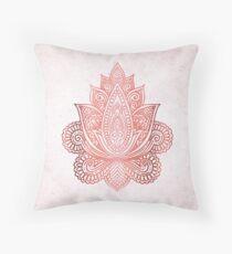 Rose Gold Lotus Throw Pillow