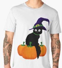 Black Cat with Hat and Pumpkins. Halloween Men's Premium T-Shirt