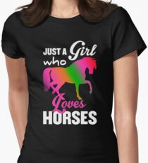 Just A Girl Who Loves Horses | Horse Riding Tee Women's Fitted T-Shirt