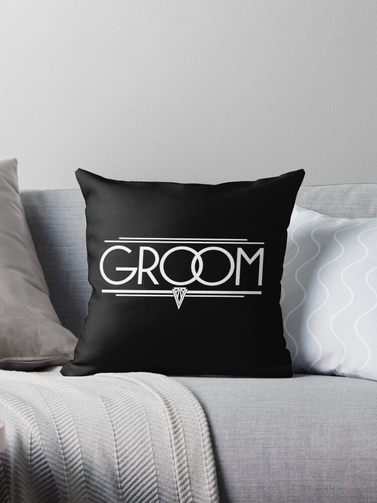 GROOM Stylish Type Hand Lettering - Wedding Art Deco Elegant White on Black by 26-Characters