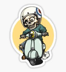 Motorcycle Skull Moon Vintage Sticker