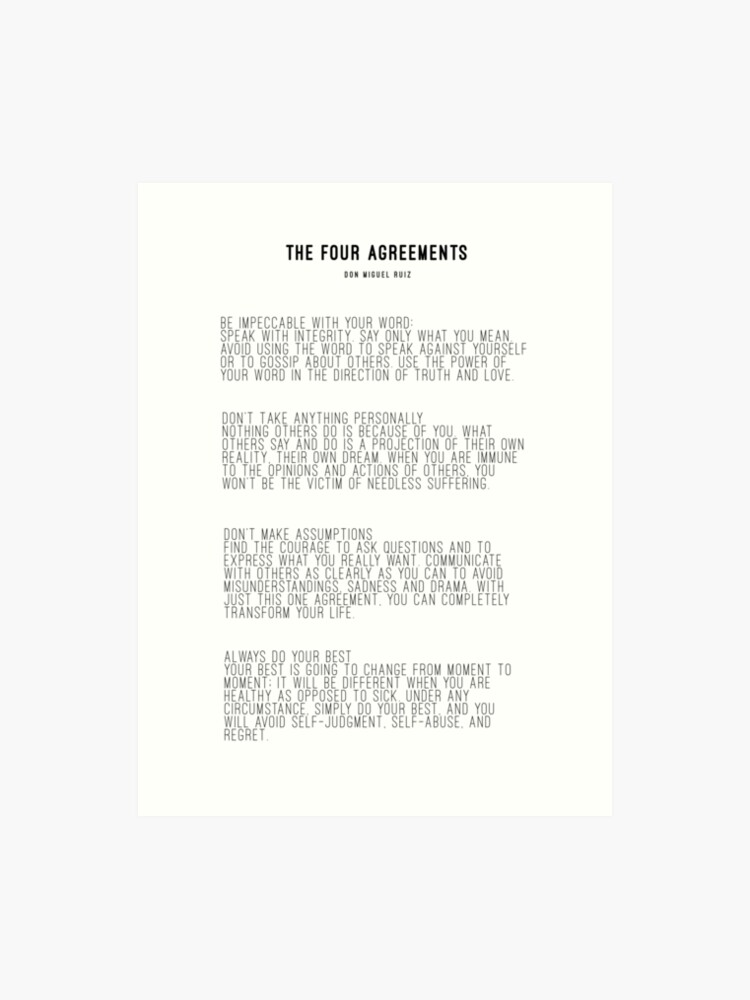 image about The Four Agreements Printable identified as The 4 Agreements Artwork Print