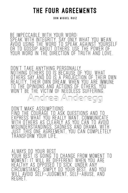 The four agreements posters by andreaanderegg redbubble the four agreements by andreaanderegg platinumwayz