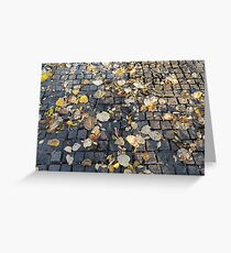 Yellow and orange fallen autumn leaves on the sidewalk  Greeting Card
