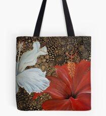 Red and White Hibiscus Tote Bag
