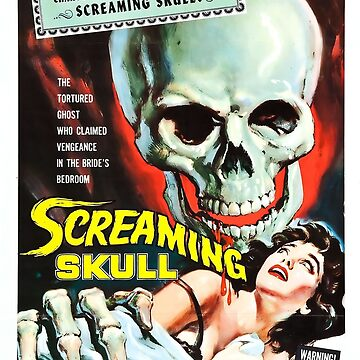 Vintage Horror Film Poster, Screaming Skull by Tee-Art