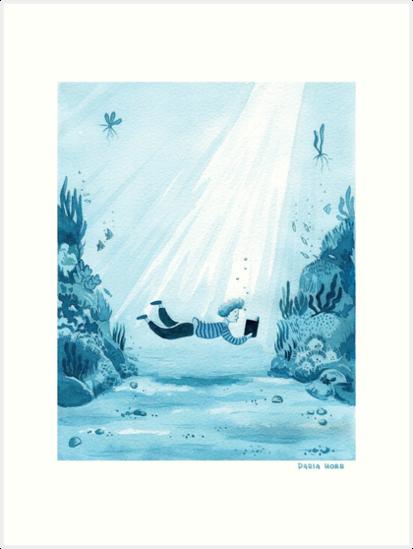 «Reading a Book - Ilustración acuarela monocromática en tonos azules» de Dasha Horb