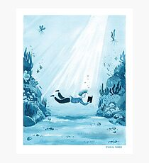 Reading a Book - watercolor monochrome illustration in blue tones Photographic Print