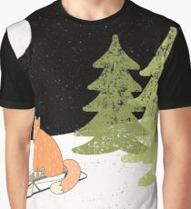 Fox Riding a Sledge in Snowy Winter Forest Graphic T-Shirt