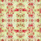 Red Ruby Diamond Shaped Pattern on Light Green Background by ibadishi
