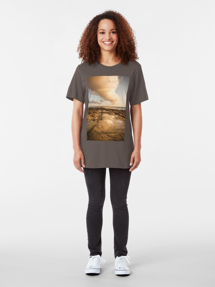 Alternate view of Rocky beach at tip of Borneo Slim Fit T-Shirt