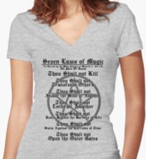 THE SEVEN LAWS OF MAGIC Women's Fitted V-Neck T-Shirt