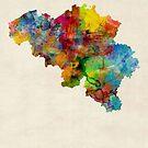 Belgium Watercolor Map by Michael Tompsett