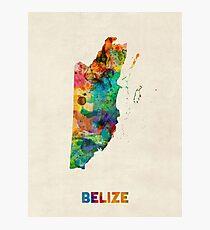 Belize Watercolor Map Photographic Print
