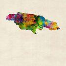 Jamaica Watercolor Map by Michael Tompsett