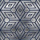 Silver Blue Star Geometry  by Adriano Carrideo