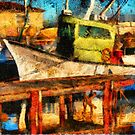 Green Fisher Boat by jean-louis bouzou