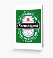 Saint Patrick's Day Shenanigans Beer Label Greeting Card