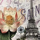 modern vintage lotus Parisian flower paris Eiffel Tower by lfang77