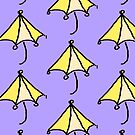 Yellow umbrella on lavender background by HEVIFineart