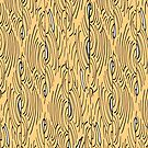 Lines and curves – black, white, gold pattern by HEVIFineart