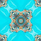 Decorative Ethnic  Moroccan Pattern Turquoise Blue Gold Medallion by lfang77