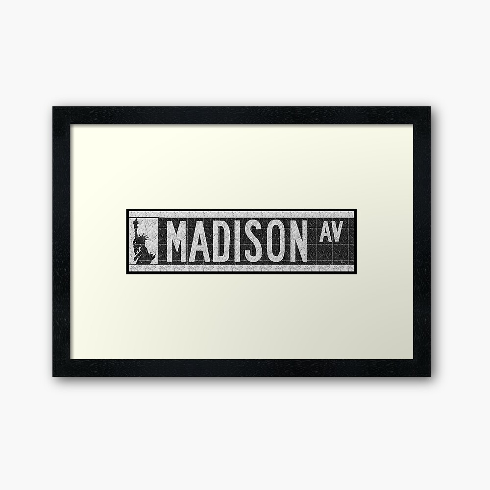 Madison Avenue NYC Pop Art Deco Straßenschild Gerahmter Kunstdruck