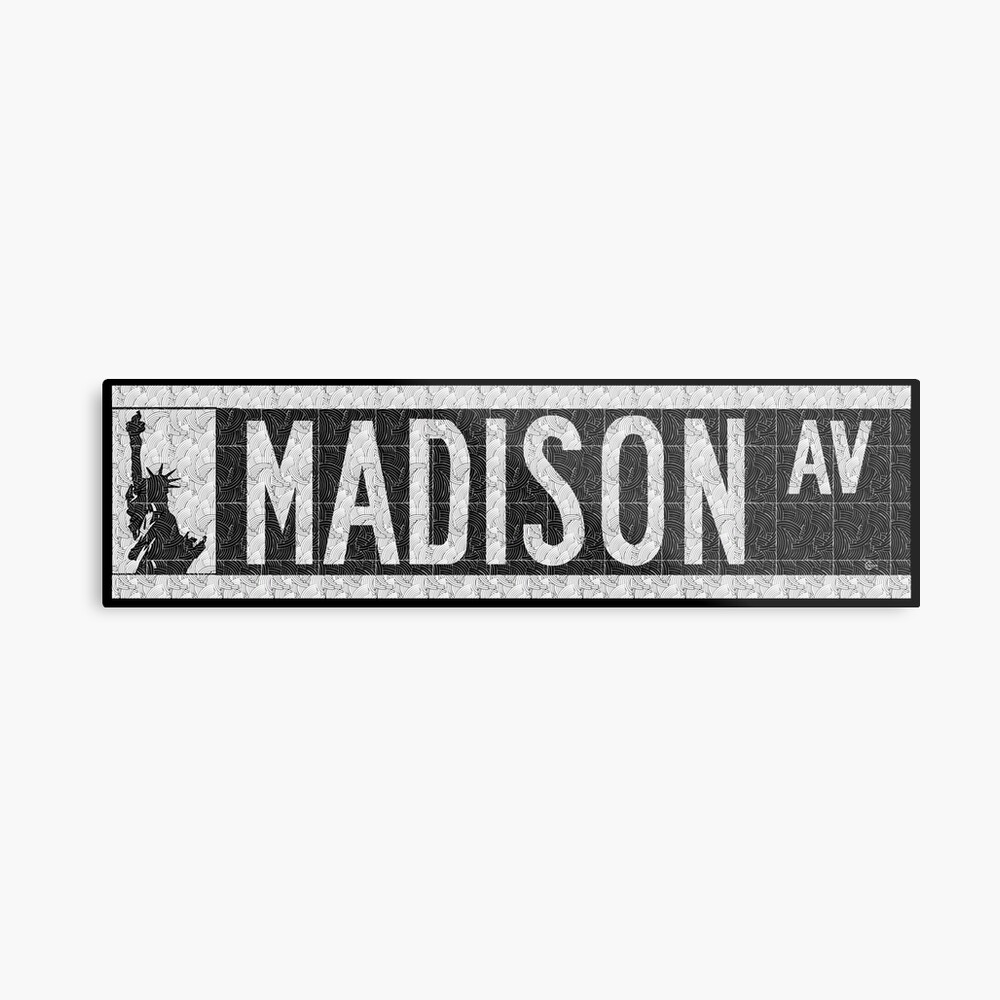 Madison Avenue NYC Pop Art Deco Straßenschild Metallbild