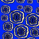 Blue and yellow floral pattern by HEVIFineart