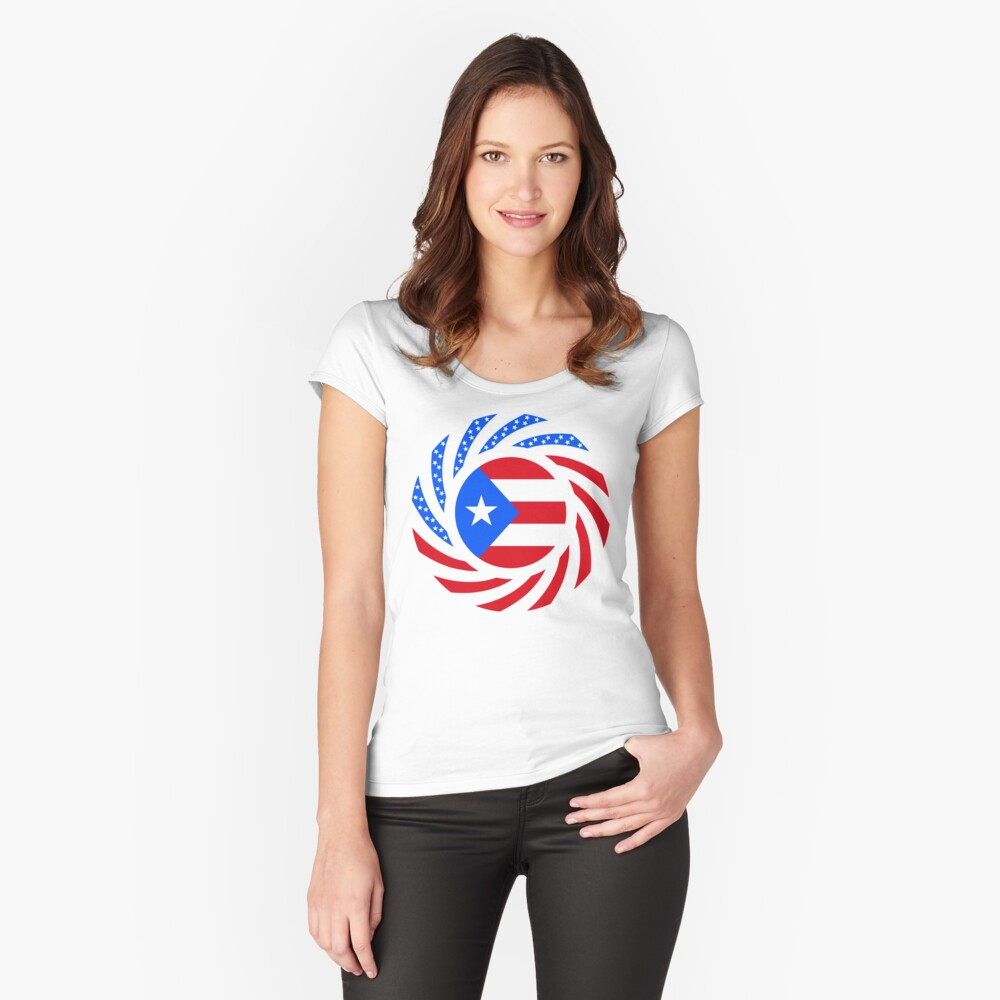 Puerto Rican American Multinational Patriot Flag Series Fitted Scoop T-Shirt