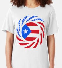 Puerto Rican American Multinational Patriot Flag Series Slim Fit T-Shirt