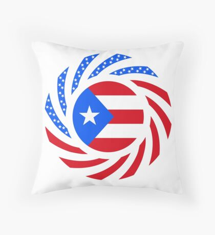 Puerto Rican American Multinational Patriot Flag Series Throw Pillow