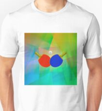 Two Ping Pong Rackets with Ball. Realistic Tennis Icon Isolated on Colorful Background T-Shirt