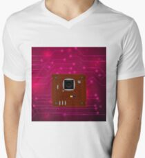 Modern Computer Technology Red Background. Circuit Board Pattern. High Tech Printed Circuit Board T-Shirt