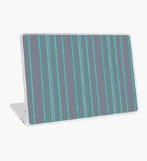 Turquoise gray awning stripe pattern Laptop Skin