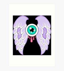 Pastel Goth   Winged Eye   Black Art Print