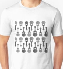Set of Different Acoustic Guitars Silhouettes Isolated on White Background. Musical Pattern. T-Shirt