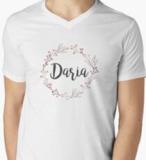 Daria | First Name in Pink Wreath Men's V-Neck T-Shirt